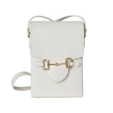 Eldora Genuine Leather Shoulder Bag White 77322