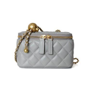 Eldora Genuine Leather Shoulder Bag Grey 77323