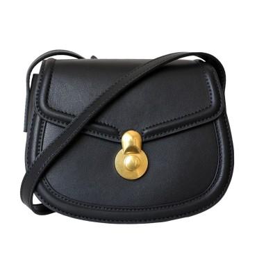 Eldora Genuine Leather Shoulder Bag Black 77324