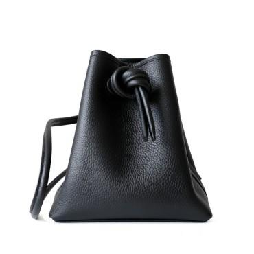 Eldora Genuine Leather Shoulder Bag Black 77325