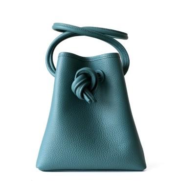 Eldora Genuine Leather Shoulder Bag Green 77325