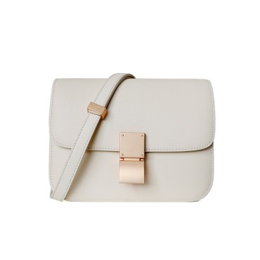 Eldora Genuine Leather Shoulder Bag White 77326