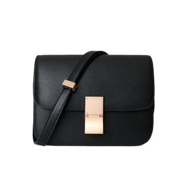 Eldora Genuine Leather Shoulder Bag Black 77326