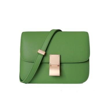 Eldora Genuine Leather Shoulder Bag Green 77326