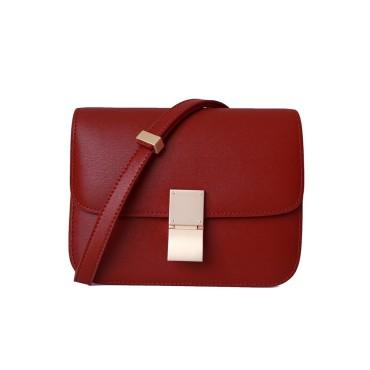 Eldora Genuine Leather Shoulder Bag Red 77326