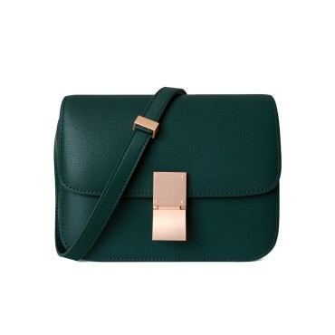 Eldora Genuine Leather Shoulder Bag Dark Green 77326