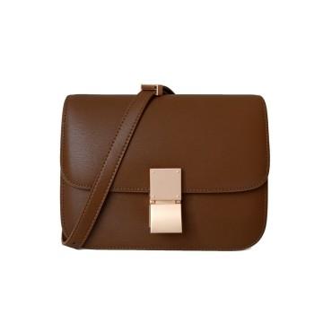 Eldora Genuine Leather Shoulder Bag Brown 77326