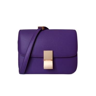 Eldora Genuine Leather Shoulder Bag Dark Purple 77326