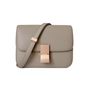 Eldora Genuine Leather Shoulder Bag Grey 77326