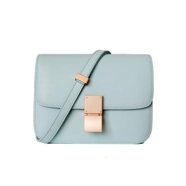 Eldora Genuine Leather Shoulder Bag Light Blue 77326