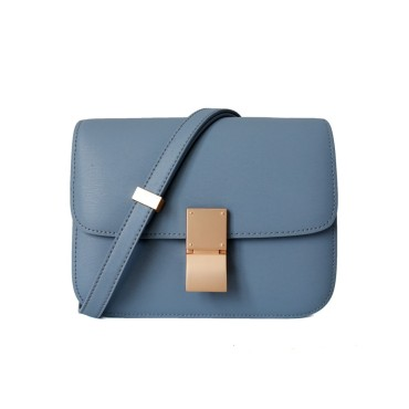 Eldora Genuine Leather Shoulder Bag Grey Blue 77326