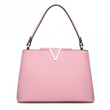 Valentine Genuine Leather Shoulder Bag Pink 75125