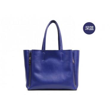 Willow Genuine Leather Tote Bag Dark Blue 75276