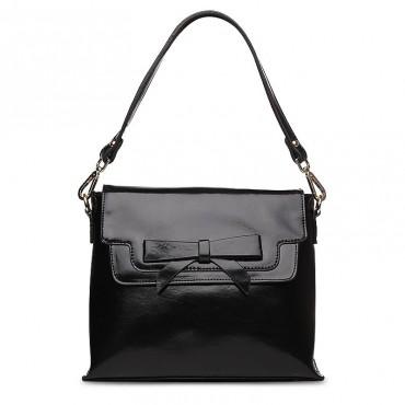 Marguerite Genuine Leather Shoulder Bag Black 75126