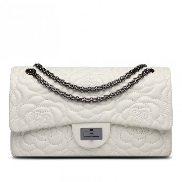 Rosaire « Morgane » Camellia Flower Embroidered Lambskin Leather Shoulder Bag in White Color 75131