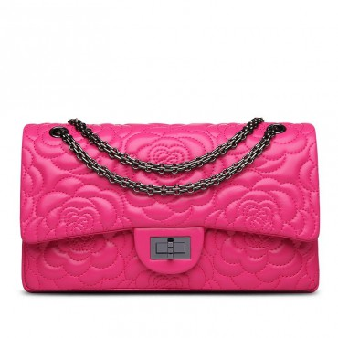 Rosaire « Morgane » Camellia Flower Embroidered Lambskin Leather Shoulder Bag in Hot Pink Color 75131