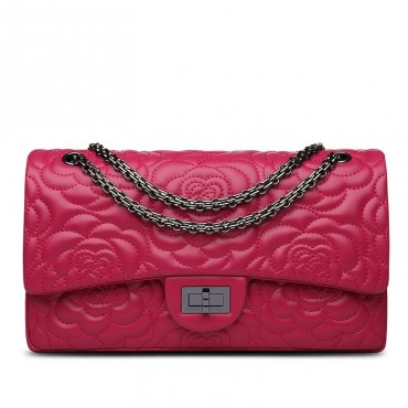 Rosaire « Morgane » Camellia Flower Embroidered Lambskin Leather Shoulder Bag in Rose Red Color 75131