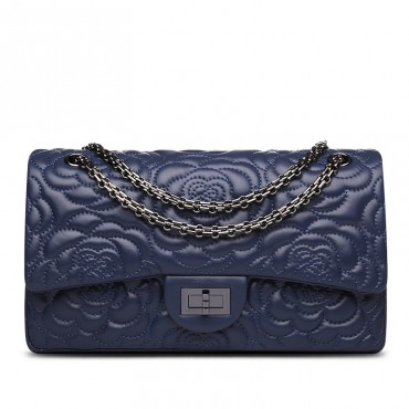 Rosaire « Morgane » Camellia Flower Embroidered Lambskin Leather Shoulder Bag in Dark Blue Color 75131