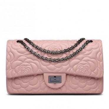 Rosaire « Morgane » Camellia Flower Embroidered Lambskin Leather Shoulder Bag in Pink Color 75131