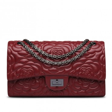 Rosaire « Morgane » Camellia Flower Embroidered Lambskin Leather Shoulder Bag in Wine Red Color 75131