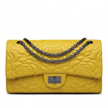 Rosaire « Morgane » Camellia Flower Embroidered Lambskin Leather Shoulder Bag in Yellow Color 75131