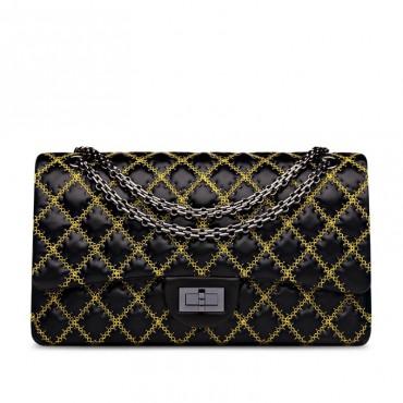 Suzanne Genuine Leather Shoulder Bag Black 75133