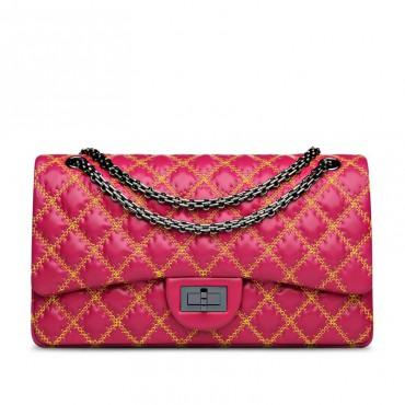 Suzanne Genuine Leather Shoulder Bag Magenta 75133