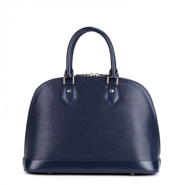 Rosaire « Manon » Top Handle Bag Epi Leather with Padlock Dark Blue 75338