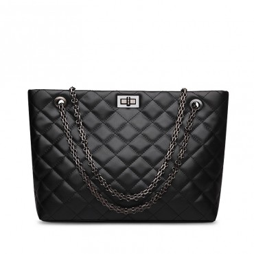 Rosaire « Apolline » Quilted Tote Bag Cowhide Leather with Chain Shoulder Strap in Black Color / 75135