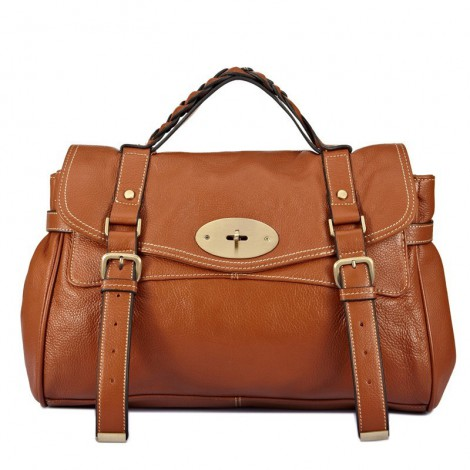 Susan Genuine Leather Satchel Bag Brown 75307