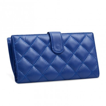 Acacie Genuine Lambskin Leather Wallet Blue 65102