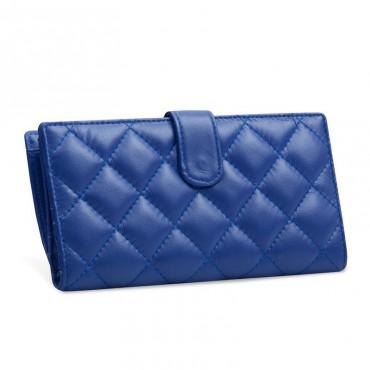 Acacie Genuine Lambskin Leather Wallet Blue 65102