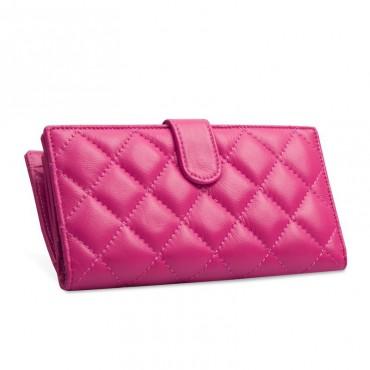 Acacie Genuine Lambskin Leather Wallet Magenta 65102