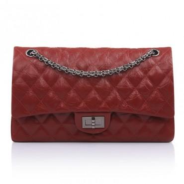 Clara Genuine Leather Shoulder Bag Dark red 75138