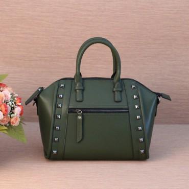 Genuine Leather Satchel Bag Green 75395