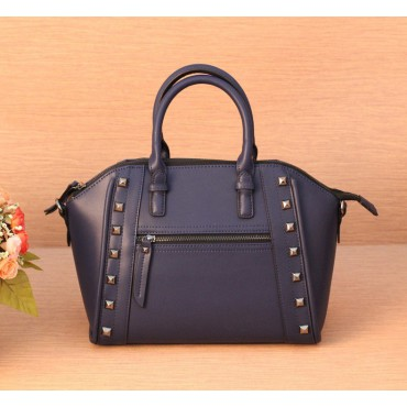 Genuine Leather Satchel Bag Blue 75395