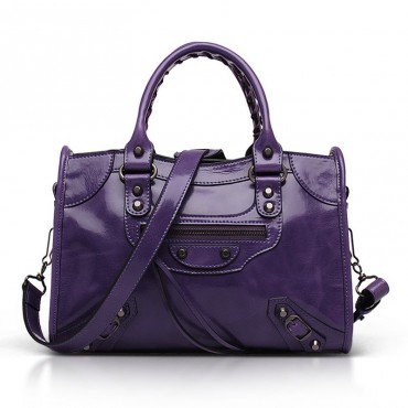 Elton Genuine Leather Tote Bag Purple 75313