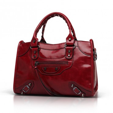 Elton Genuine Leather Tote Bag Dark Red 75313