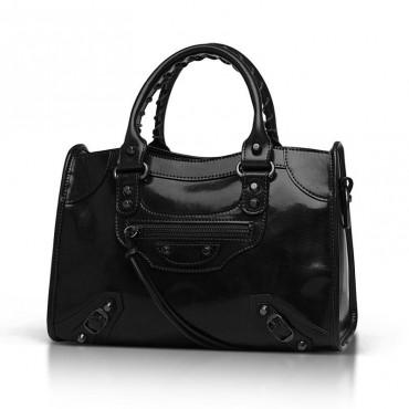 Elton Genuine Leather Tote Bag Black 75313
