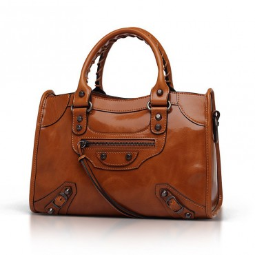 Elton Genuine Leather Tote Bag Brown 75313