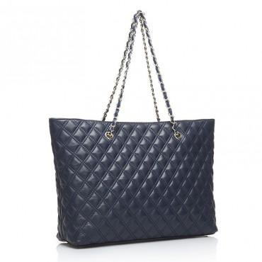 Evelyne Genuine Leather Tote Bag Blue 75141