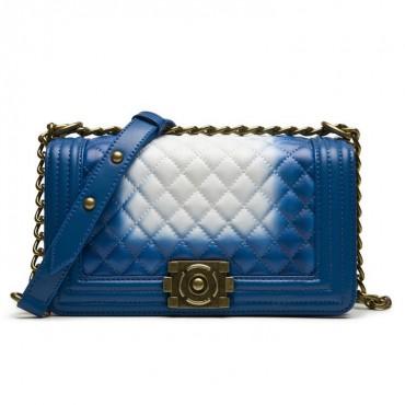 Angeline Genuine Leather Shoulder Bag Blue White 75145