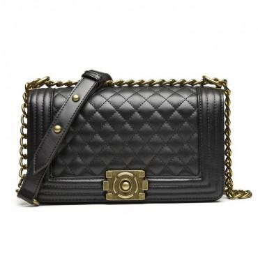 Angeline Genuine Leather Shoulder Bag Black 75145