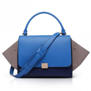 Elizabeth Genuine Leather Satchel Bag Blue 75319