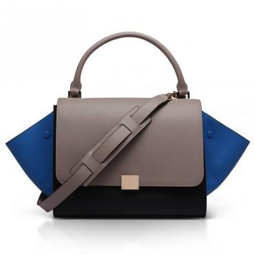 Elizabeth Genuine Leather Satchel Bag Grey 75319