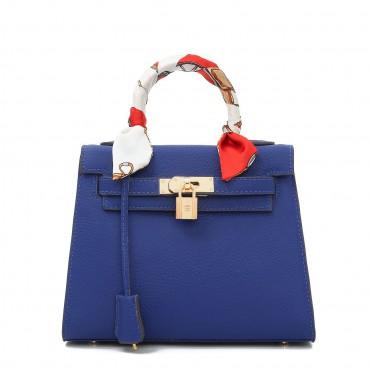 Rosaire « Capucine » Padlock Top Handle Bag Cowhide Leather Sapphire Blue Color 75163