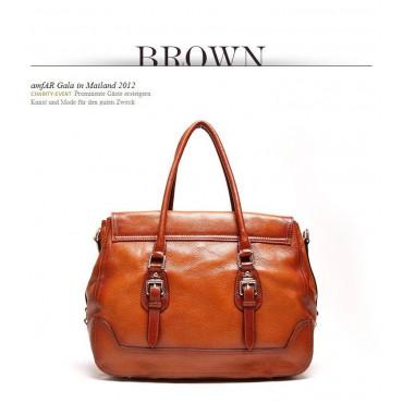 Genuine Leather Tote Bag Brown 75566
