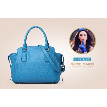 Genuine Leather Tote Bag Blue 75569
