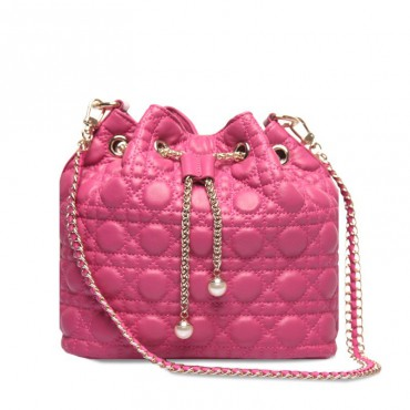 Rosaire « Vigny » Quilted Lambskin Leather Bucket Bag with Drawstring Closure Pink Color / 75102