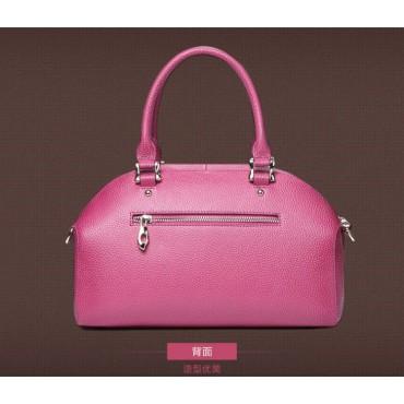 Genuine Leather Tote Bag Magenta 75572